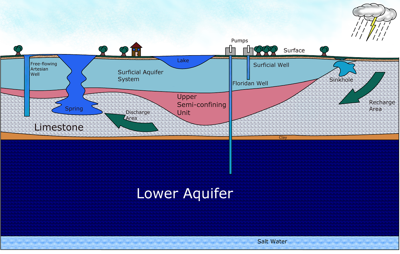 Florida aquifer percolation.