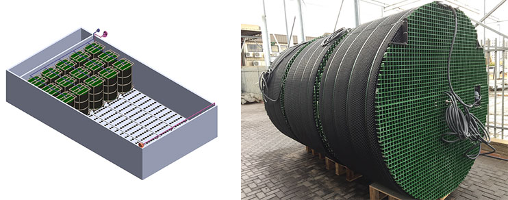 Left: First SUBRE unit manufactured by Fluence in December 2016, Right: Design of SUBRE units installed in an existing aeration basin