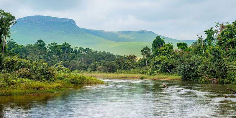 River and Mountains in Congo, Africa