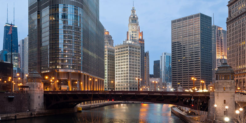 Chicago River Passing Through City's Downtown
